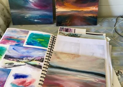 A page from Sarah Jane Brown's sketchbook & small oil on board studies