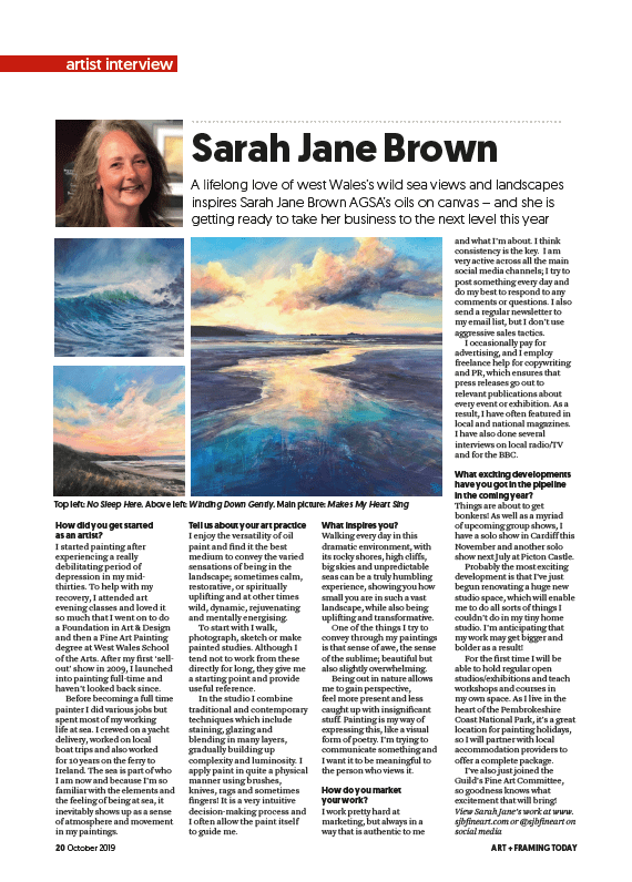 Artist interview in Art & Framing Today Magazine
