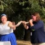 Teacher Melissa blowing the shofar