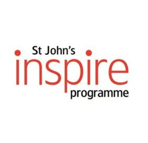 """St John's Inspire Programme logo: """"Inspire"""" in large red text, with """"St John's"""" and """"programme"""" in smaller black text, on a white background"""