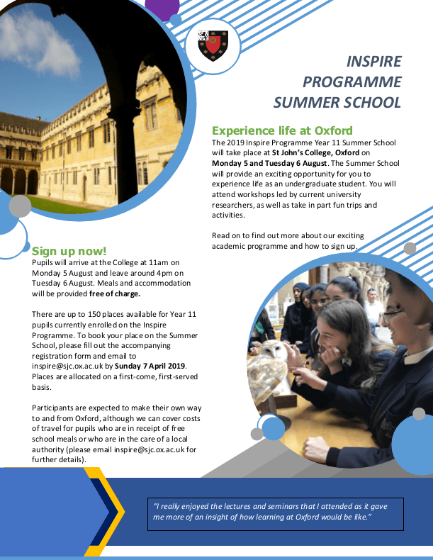 Y11 Inspire Summer School Flyer