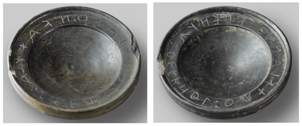 Etruscan bucchero bowls with suspicious inscriptions
