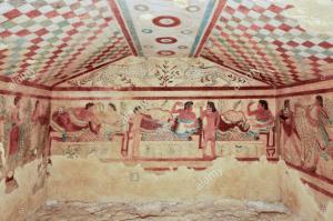 Fresco showing an Etruscan banqueting scene