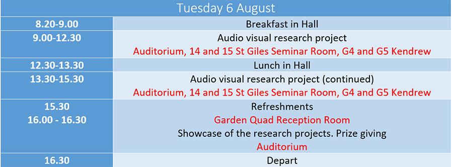 Tuesday Timetable