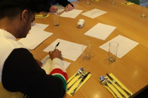 Pupils work through the MAT questions with current Maths undergrads.