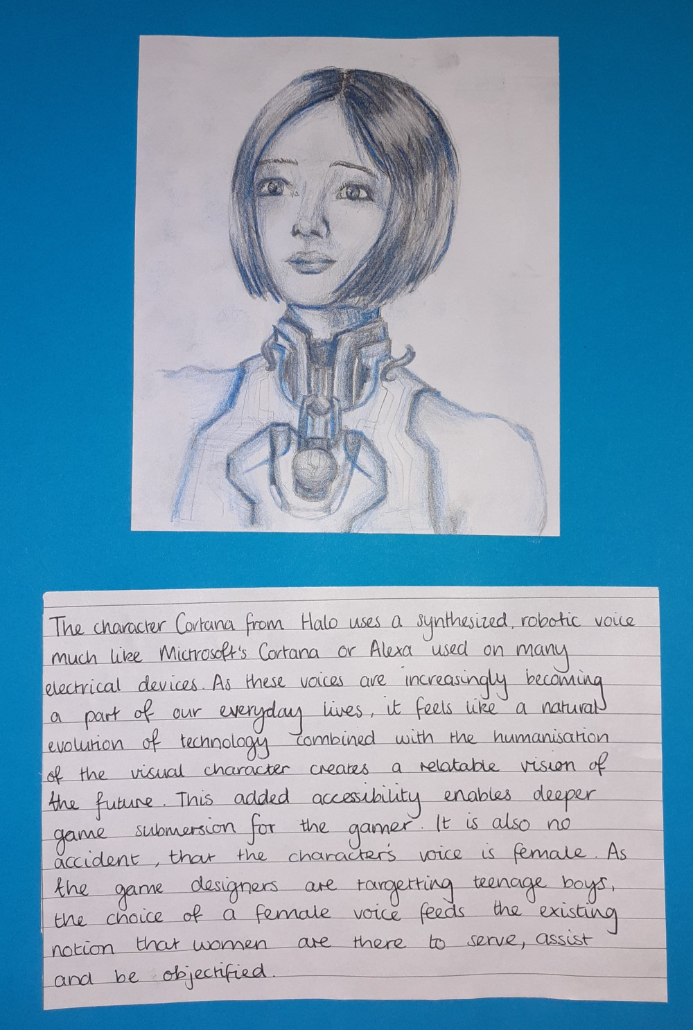 Maddie's competition entry: A drawing and description of Cortana from Halo