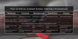 Year 12 (Humanities) Virtual Summer School Timetable