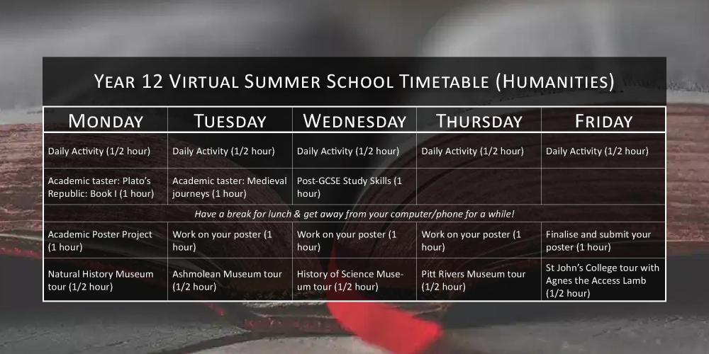 Year 12 Virtual Summer School timetable (Humanities)