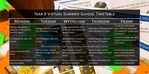 Year 9 Virtual Summer School Timetable
