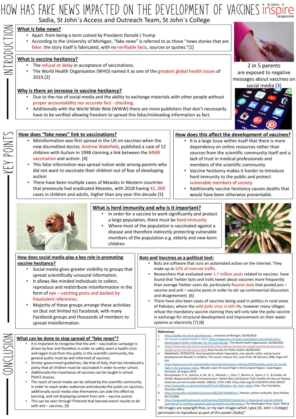 How has fake news impacted on the development of vaccines (Academic Poster Project by Sadia)