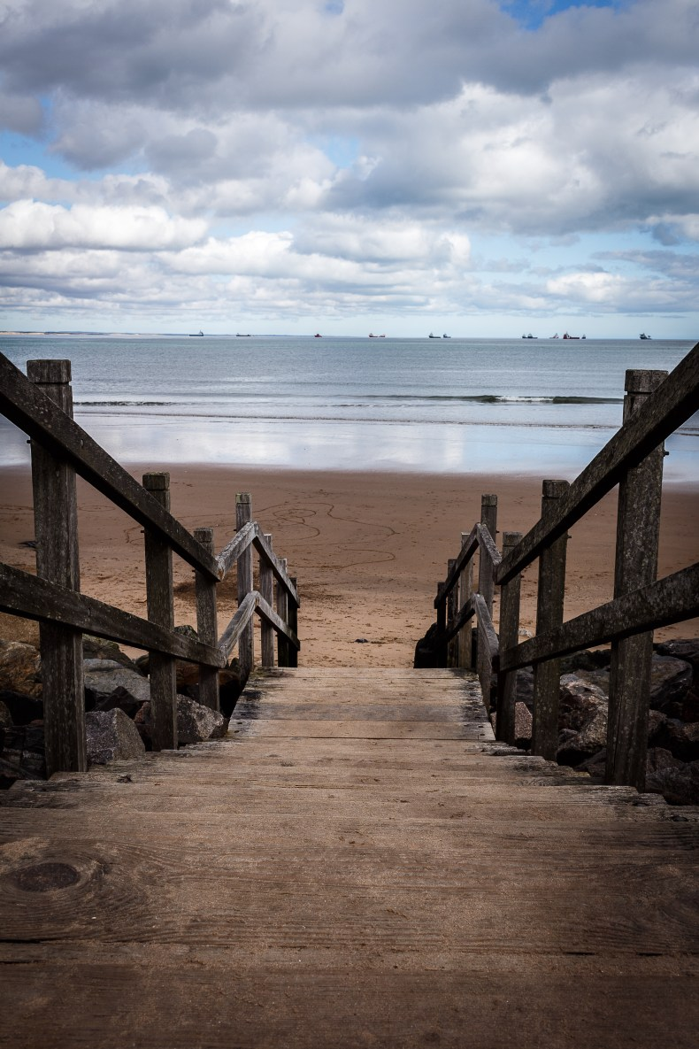 Stairs at Footdee (Fittie) leading down to Aberdeen Beach