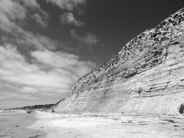 Torrey Pines State Beach, Rocks, Sky B & W, 2014 ;  by Susan Farese, SJF Communications