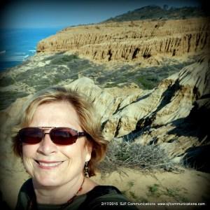 Susan admiring Rock Formations at Torrey Pines State Reserve