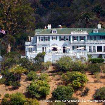 View of Wrigley Mansion from Avalon Tour Bus