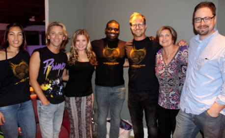 'The Beautiful Machine' in Green Room of 'Tonight in San Diego': Left to right: Jeannee Hogan, Chris Chiles, Emmy Farese, Domonique Evans, Mike Neumann, Susan Farese, Josh Switzer