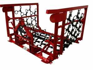 4m wide set of Tractor Mounted Heavy Duty Mounted Chain Harrows designed for use and sale in Britain.