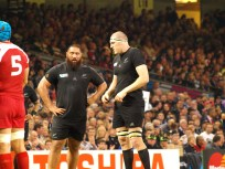 Charlie Faumuina and Brodie Retallick recover after the scrum.