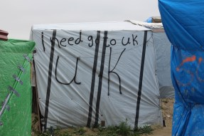 Many of the camp's residents hope to cross into the UK from Calais. Only 20.6 miles separate France from Dover, UK at a point near Calais. Photo by Anna Waters