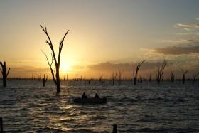 Early morning fisherman on Lake Mulwala