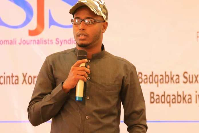 Radio Galkayo director, Mohamed Ali Siyad speaks during the end of a three-day training in Galkayo, Mudug on Thursday 9 September, 2021. | PHOTO CREDIT/SJS.