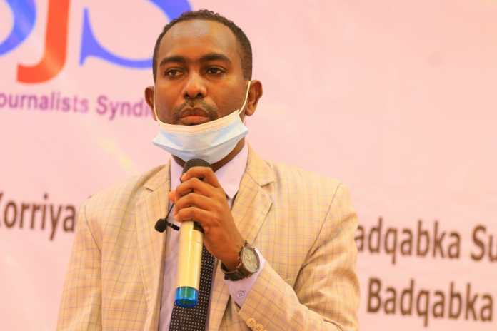SJS Secretary General, Abdalle Ahmed Mumin speaks at the wrap up of a three-day training in Galkayo, Mudug on Thursday 9 September, 2021. | PHOTO CREDIT/SJS.