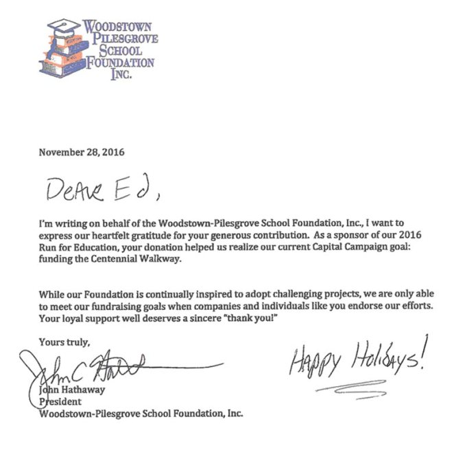 Capital campaign donation thank you letter newsinvitation woodstown pilesgrove school foundation inc charity thank you letters expocarfo Gallery