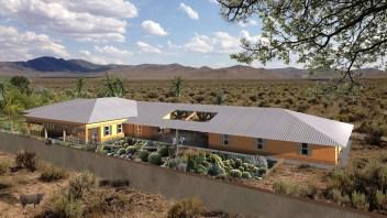 Villa onder 1 groot dak, in droog steppe gebied.