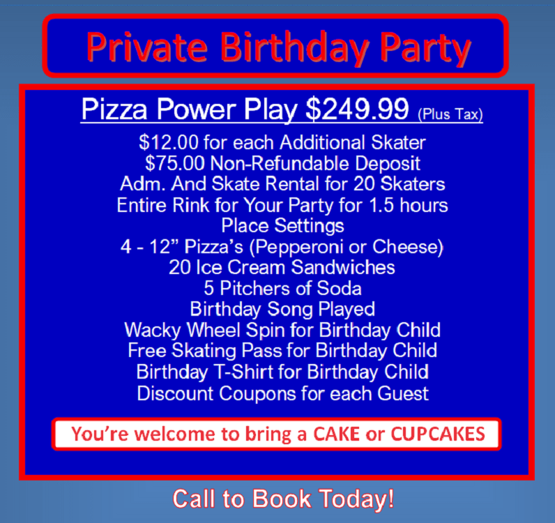 Sk8away - Private Pizza Power Play - BD Party