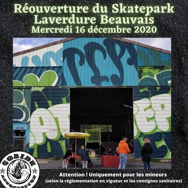 Skatepark Laverdure Beauvais, réouverture aux mineurs à partir du Mer. 16 décembre 2020