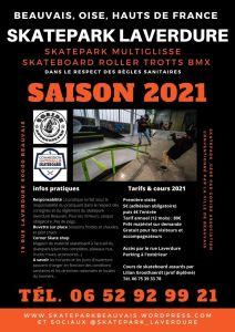 Infos sur la saison 2021 du Skatepark Laverdure Beauvais géré par Goride Association