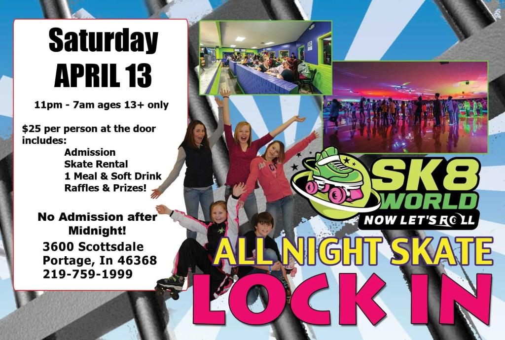 All Night Skate postcard April 13 Sk8world Portage Indiana