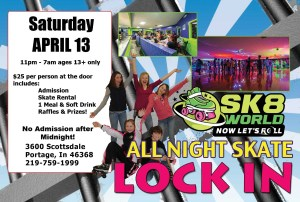 All Night Skate postcard April 13 Sk8world Portage Indiana