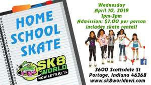 April Homeschool skate on April 10 from 1pm - 3pm with photos of a notepad and children on roller skates.
