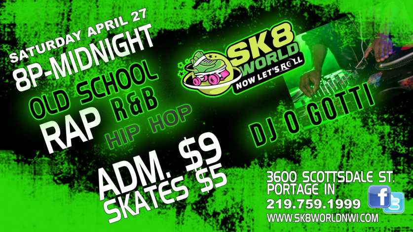 DJ O Gotti event at Sk8world Portage