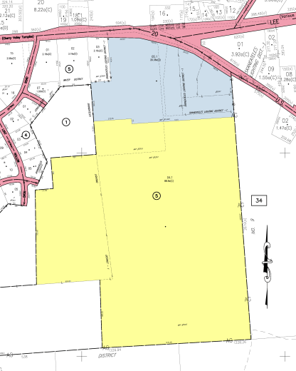 Dunning property in yellow.