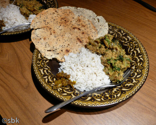 Nettle Dhal served with basmati rice, spicy papad and chilli pickle.
