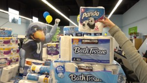 Toilet Paper Drive Donations Surrounded by Seahawk Mascot