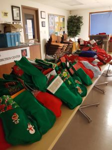 Skagit County Community Giving Piles of Stockings