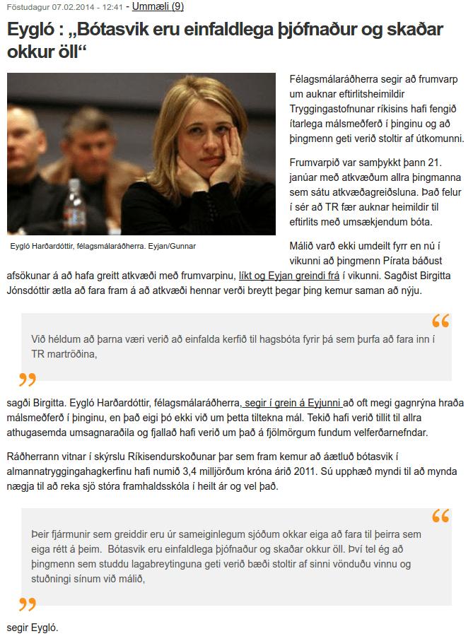 Hrokinn í Eygló Harðardóttur er síst minni en hjá Bjarna Ben