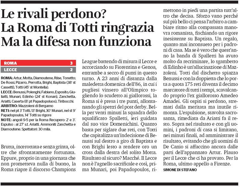 Roma-Lecce 3-2 articolo