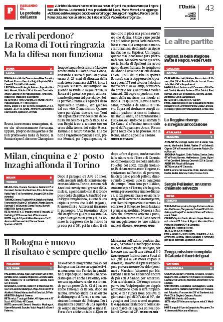 Roma-Lecce 3-2 pagina