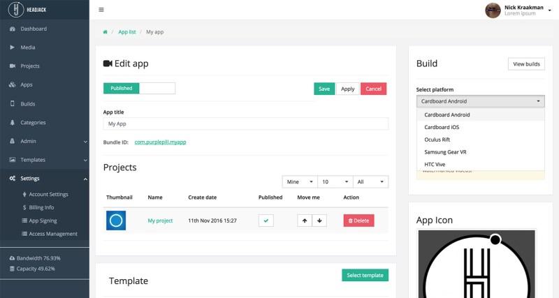 Headjack 360 video app platform