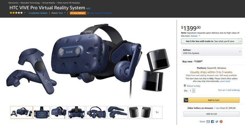 htc vive pro price amazon
