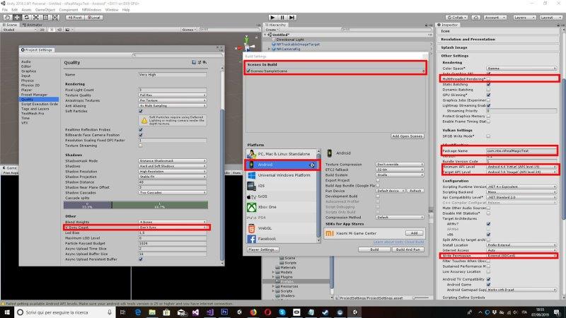 nReal Unity development settings