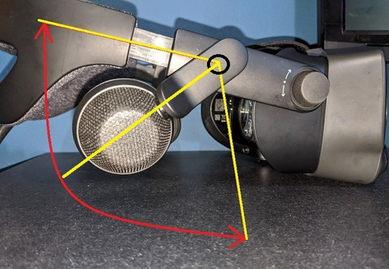 Allowed rotational range of movement of the Valve Index speakers