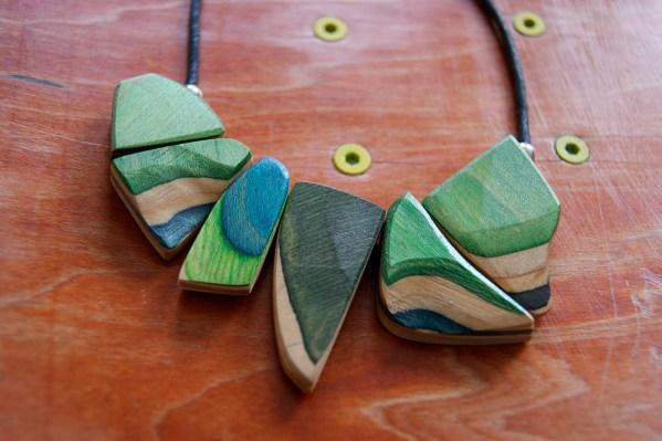 Necklace Skateboard Wood Unique Art Colourful Upcycling Schmuck Kette