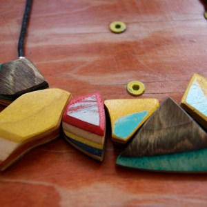 Necklace Skateboard Wood Unique Art Colourful Upcycling Shop