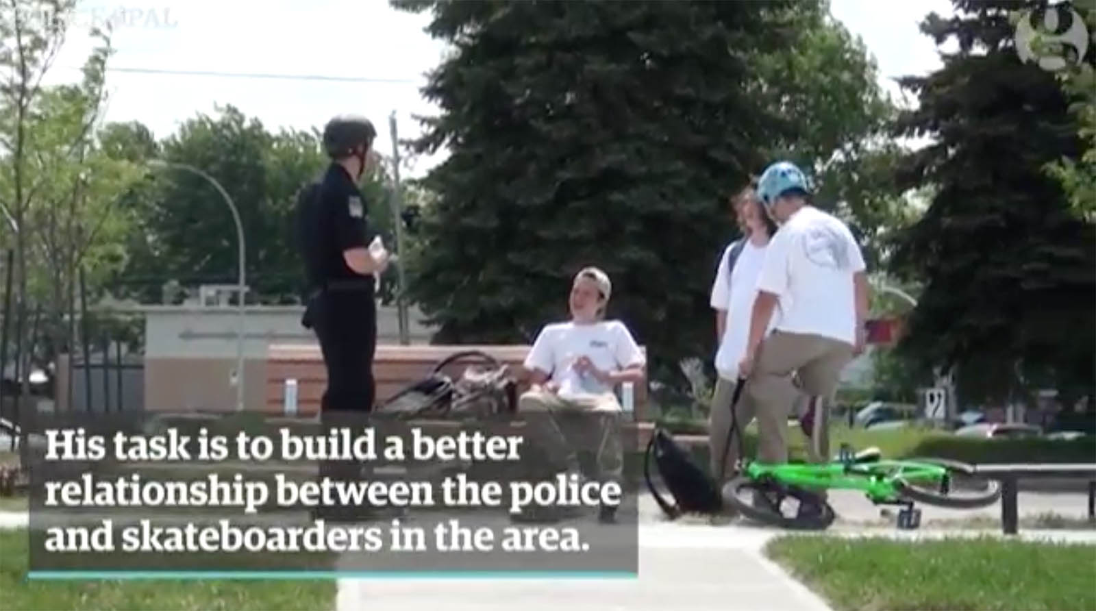 Canadas skateboarding cop having a chat