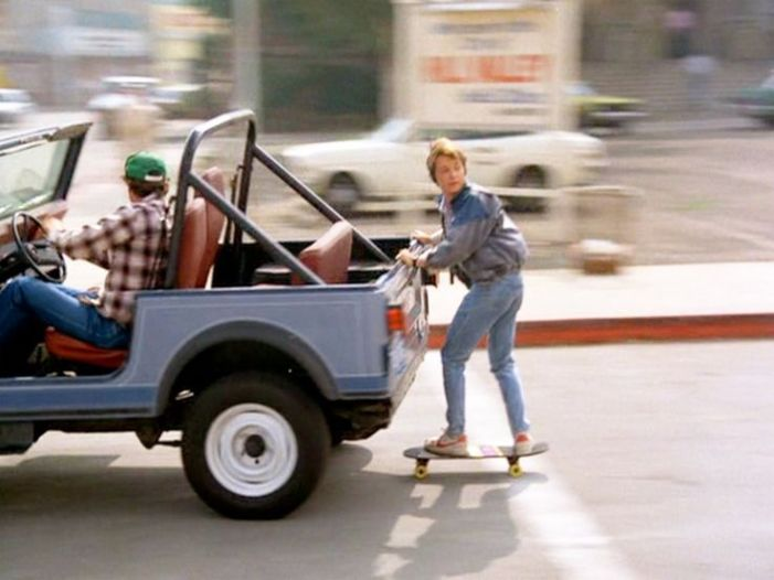 Marty McFly introducing skateboarding & skitching to a whole new generation in 1985's Back To the Future.