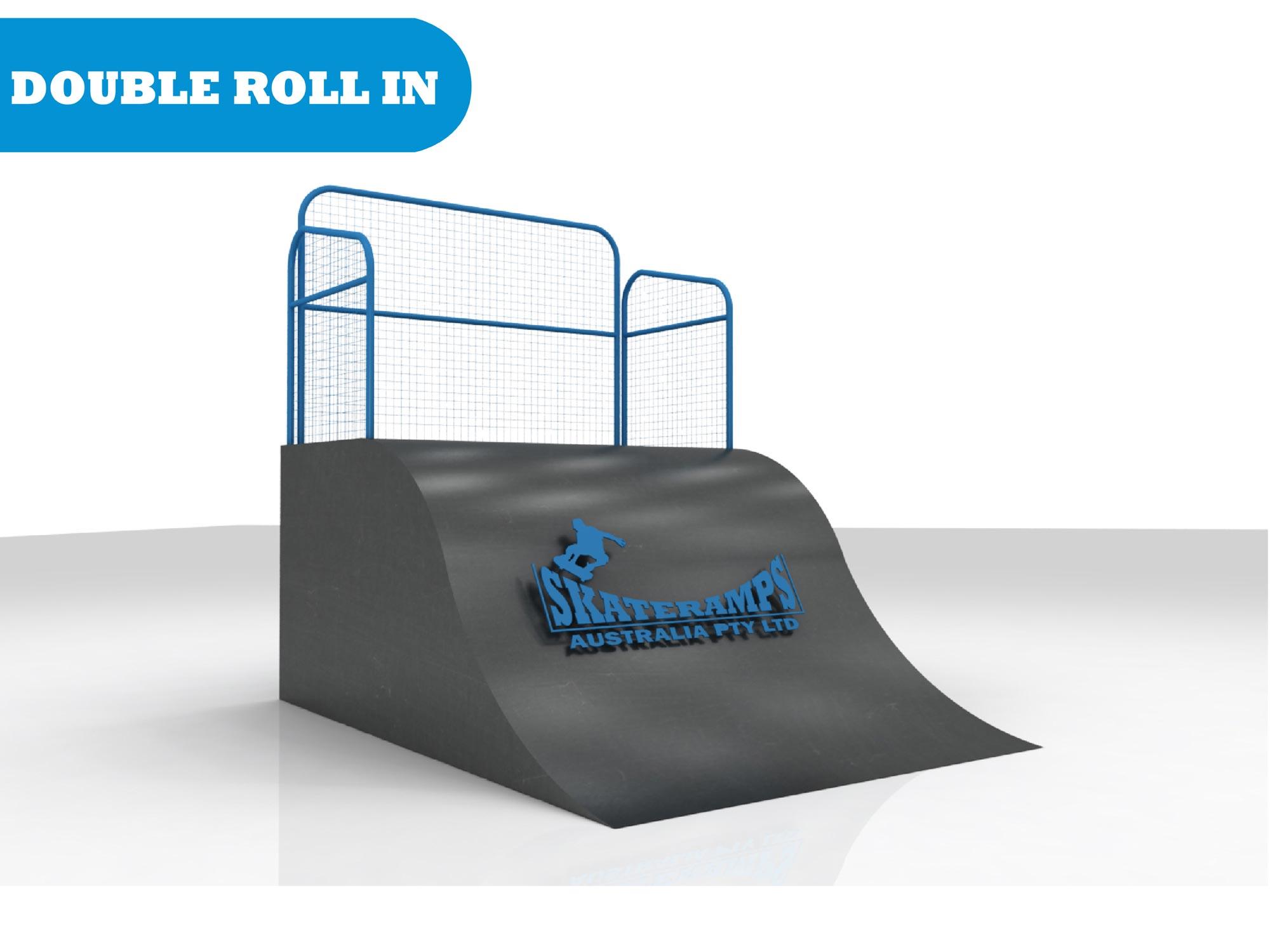 Roll in ramp skate ramp module